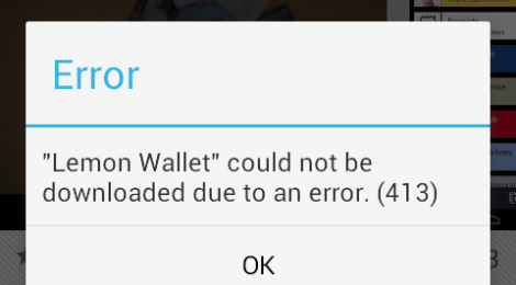Google Play: Update cannot download due to error 413